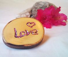 LOVE Natural Wood Magnet Pink Sparkle Inlay in by WoodlandKitchen