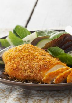 Crispy Parmesan Chicken Breasts — Crispy on the outside, juicy on the inside, super-easy to make. One bite of our Parmesan chicken breasts, and you'll never go back to your old recipe.