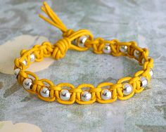 Leather Woven Beaded Bracelet Yellow And Silver