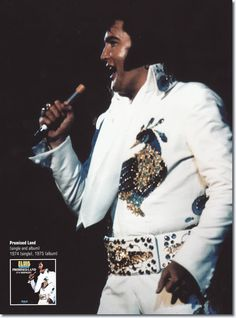 IN THE CITY OF THE ANGELS! ELVIS wearing the PEACOCK jumpsuit on stage in Los Angeles on May 11 1974. It is a white jumpsuit with wonderful a peacock design done in embroidery. It is said it was THE KING's favorite jumpsuit. When ELVIS first wore this suit in 1974, he didn't wear it with the original belt, but with the White Spanish Flower belt instead. This is an iconic picture of ELVIS seen all over the world on the cover of the PROMISED LAND album.