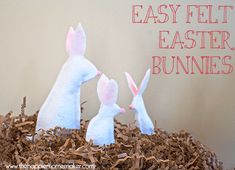 Make your own adorable Easter Bunny decor in a flash with no sewing, just felt, pom-poms, and a glue gun!