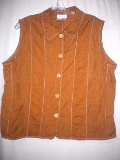 Coldwater Creek Size XL Golden Brown Stitch Trim Wooden Buttons Women Tank Top #ColdwaterCreek #TankCami #Versatile