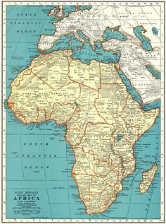 1942 Vintage MAP of AFRICA Map Gallery Wall Art Home Library Decor Wedding Anniversary Honeymoon Birthday Gift 8954 by plaindealing on Etsy Old Maps, Antique Maps, Vintage Maps, Vintage Wall Art, World Atlas Map, Home Library Decor, Denmark Map, World Map Decor, Africa Map
