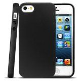 Anker® Glaze Case for iPhone 5 - Ultra Slim Fit 0.9mm with Flexible Matte TPU Skin - Retail Packaging (Opaque Black)