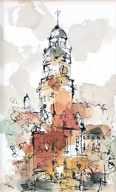 Town hall, leicester ink and watercolour architecture drawing sketchbooks, sketchbook drawings, art sketches Watercolor Sketchbook, Watercolor Images, Art Sketchbook, Watercolor And Ink, Watercolor Illustration, Watercolor Paintings, Travel Sketchbook, Watercolour Pencil Art, Watercolor Architecture