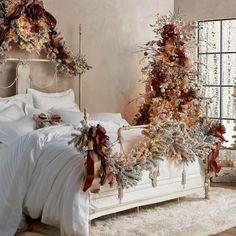 Christmas Bedroom, Farmhouse Christmas Decor, Outdoor Christmas, Rustic Christmas, Christmas Home, Christmas Holidays, Holiday Decor, French Country Christmas, Christmas Garlands