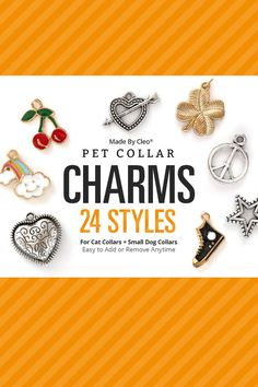 Our pet collar charms come in 24 unique styles and a mixture of colors — perfect for adding a little extra personality and polish (without going overboard). Sized for cats and small dogs, these fun little metal charms are lightweight and easy to put on or remove, whether its for a pet collar of your own or one from our shop. A METAL SPLIT RING IS INCLUDED WITH EACH CHARM - optional for you to use for attaching to any collar. The color of the split ring will match the charm (gold or silver)…
