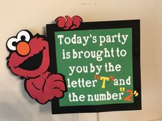 may birthday party 2nd Birthday Party Themes, Second Birthday Ideas, Elmo Party, Elmo Birthday, Boy Birthday Parties, Birthday Board, Sesame Street Party, Sesame Street Birthday Party Ideas, Sesame Street Room