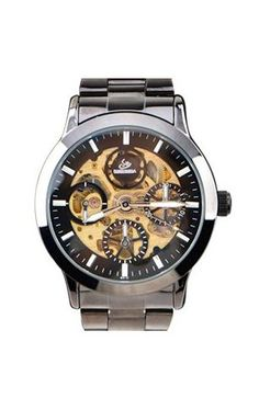 Automatic Skeleton Mens Mechanical Stainless Steel Classic Sport Wrist Watch