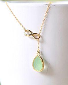 Mint Lariat Bridesmaid Necklace.