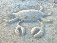 beach sand art sculpture crab