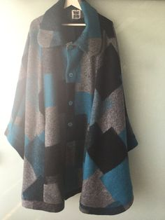 Boiled Wool Cape Coat Stunning Color Blocked by UlricDesign