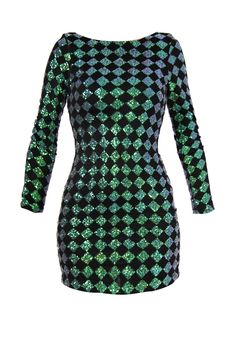 Diamond Green Sequin Dress - Sequin dress by Motel in bodycon design, made of stretch material with all-over black and green sequins in checked pattern. Long sleeves and dipped back, this dress is all you need for a party night. Main: 100% Polyester Lining: 95% Polyester 5% Elastane Cool hand wash