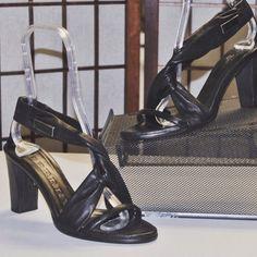 Burberry sandals available @ 2tymingthreads.com #2tymingthreads #burberry #leather #black #sandals #heels #italy #logo #fashion #designer