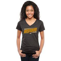 Missouri Tigers Women's Double Bar Tri-Blend V-Neck T-Shirt - Black