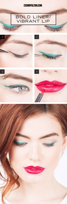 BOLD AND BRIGHT MAKEUP TUTORIAL: Adding a little color into your makeup mix is always a good idea, and this teal liner and punchy pink lip is a killer combo. To pull off this particularly loud yet gorgeous look, use this tutorial and these tips from makeup artist Lauren Cosenza. Click through for the super easy makeup tutorial that walks you through each step so you can DIY this edgy style at home.