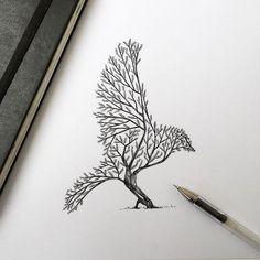 tatouage oiseau arbre tatouage