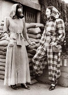 London, England Sept 14, 1939. The very latest fashion in air raid shelter wear.