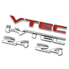 Chrome/Red Alloy i-VTEC 2.4 VTEC Car Sticker Auto Decal Emblem Honda Accord CRV