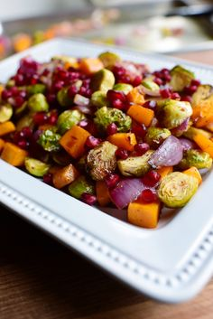 Roasted Brussel Sprouts and butternut squash with pomegranate glaze.