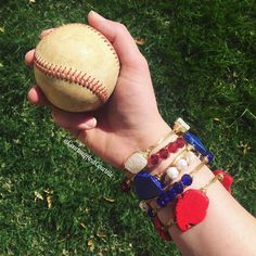 Happy Opening Day Baseball fans! Stack up your arm in your teams colors! We are Texas girls and The Texas Rangers are our team! Who do you root for at the ballpark?! #openingday #mlb #texas #texasrangers #nevereverquit #openingday2016 #capson #bangleson #wfaarangers #bangles #wirewrappedbangles #courtneyandcourtnie #druzy #baseball #jewelry #gameday