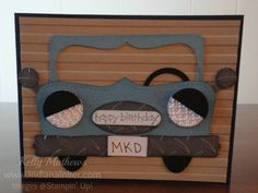 Classic antique car punched out for father's day!  Customize the license plate so dad will know this handmade father's day card is all for him.  Love the grey and brown colors.