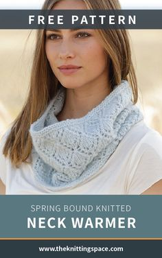 Spring Bound Knitted Neck Warmer [FREE Knitting Pattern] This simple yet chic neck warmer is a total must-have spring accessory that will add warmth on cool Lace Knitting Patterns, Free Knitting, Scarf Patterns, Knitting Ideas, Knitting For Beginners, Neck Warmer, Free Pattern, Neck Pattern, Diy Clothes