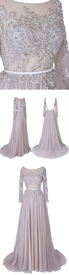 Illusion A-line Nude Scoop Long Sleeves Chiffon Backless dress with embroidery