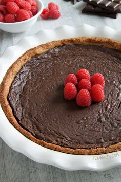 This paleo chocolate fudge pie is silky smooth, fudgy and decadent and has an almond flour based crust. It's also gluten-free, grain-free and dairy-free.