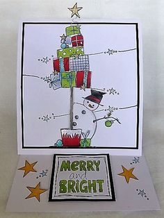 Cling Stamps from Paper Artsy, designed by Jo Firth-Young. Stamped Christmas Cards, Christmas Card Crafts, Homemade Christmas Cards, Christmas Cards To Make, Xmas Cards, Christmas Art, Homemade Cards, Holiday Crafts, Watercolor Christmas Cards