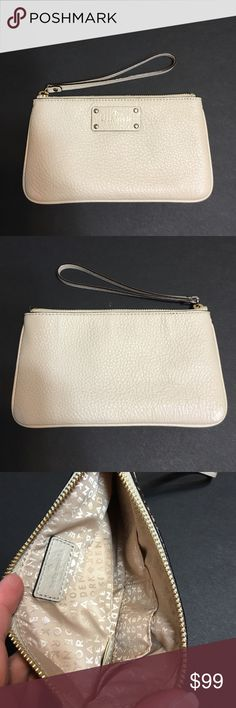 Kate Spade • Zippered Chrissy Wristlet Kate Spade • Zippered Chrissy • Berkshire Road Seedpearl Wristlet. Has two pockets inside for ID or credit cards. Room to fit an iPhone 6 Plus. kate spade Bags Clutches & Wristlets