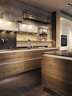 Remarkable Kitchen Design Ideas For Small Apartment - Kitchen - Kitchen Ideas Simple Kitchen Design, Kitchen Lighting Design, Luxury Kitchen Design, Interior Design Kitchen, Modern Interior, Apartment Kitchen, Home Decor Kitchen, Kitchen Ideas, Family Kitchen