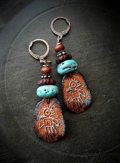 Southwest, Petroglyph, Warrior, Ceramic, Glass, Rustic, Tribal, Primitive, Lampwork Glass, Organic, Artisan Made, Primitive Beaded Earrings by YuccaBloom on Etsy