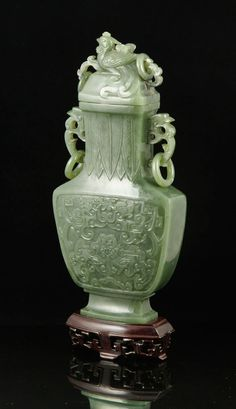 CHINESE SPINACH GREEN JADE VASE Asian Collections Auction   Kaminski Auctions 2/22