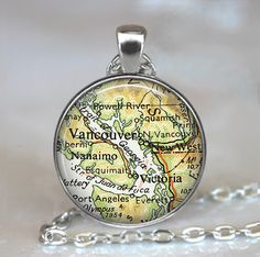 Vancouver British Columbia map necklace by thependantemporium