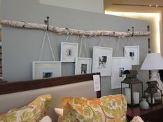 Hanging Wedding Photosthis Can Aldo Be For Any Pics Hanging Multiple Picture Frames Ideas Hanging Frames With Ribbon Diy Wall Hanging Photo Frames Ideas Decoration Branches, Birch Branches, Birch Trees, Birch Tree Decor, Tree Branch Decor, Birch Logs, Branch Art, Diy Casa, Ideas Hogar