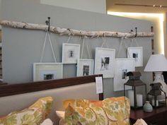 Birkenstamm an der Wand mit hängenden Bildern