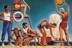 "Kenton Nelson, ""The Day in Order"", oil on canvas  #kentonnelson #painting #oilpainting #colorful #contemporaryart #art #gallery #figurative #figure #classic #california #beach #picnic #seaside #retroswimwear"