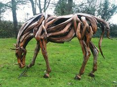 Kevin Connaire is a talented artist who makes beautiful handmade 'Driftwood Horses'. Kevins work recently caught my eye, as I'm huge fan of the children's novel 'War … Driftwood Sculpture, Horse Sculpture, Driftwood Art, Aquarium Driftwood, Abstract Sculpture, Bronze Sculpture, Zebras, Driftwood Projects, Horse Artwork