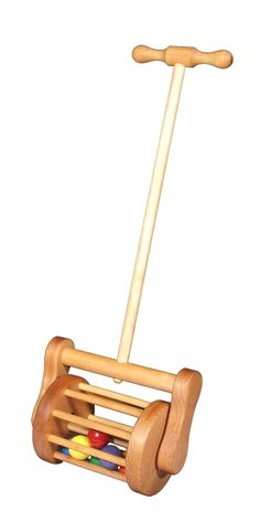 This classic wooden toy lawn mower combines color, sound, and movement. Six brightly colored balls tumble in a sturdy wooden cage. Whether pretending to vacuum or mow, kids enjoy this toy year-round. An all natural toy made of locally-harvested alder wood Wooden Toys For Toddlers, Wooden Baby Toys, Wood Toys, Toddler Toys, Kids Toys, Wooden Pegs, Children's Toys, Wooden Diy, Woodworking Toys