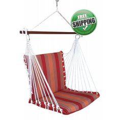 Hangit.co.in - Best Buy Online Hammock Swing Shopping Outdoor Garden Furniture Store Website in India ON SALE! Premium Outdoor Garden Swing Furniture - Red Stripes Cushioned Swings
