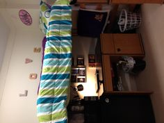 How to turn a lofted dorm bed into a much more homey space.