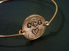 HAND STAMPED PENNY  Personalized Penny Bangle by TheCoinShop, $16.98
