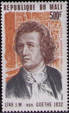 "Johann Wolfgang von Goethe -  born on August 28, 1749  was one of the greatest romantic writers that literature has ever known. Just read "" Passion Trilogy ""to prove.  Stamp from the Republic of Mali,"