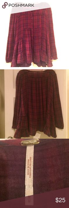 Free People Boho Flannel Cute flannel top by Free People. The top is a button up with different panels sewn together to make a classic like a flannel top into a boho inspired look. Free People Tops Button Down Shirts