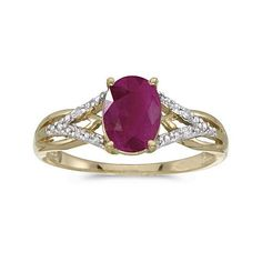 14k Yellow Gold Oval Ruby And Diamond Ring « Holiday Adds