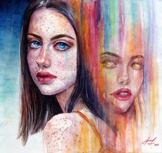 Ukraine based artist Lina, Artilin in dA created the pretty watercolor portrait paintings with the wonderfu details.
