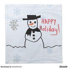 Snowman Cloth Napkin #Snowman #Snow #Winter #Holiday #Christmas #Napkin #Cloth