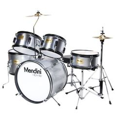 Mendini MJDS-5-SR Complete 16-Inch 5-Piece Silver Junior Drum Set with Cymbals, Drumsticks and Adjustable Throne by Mendini. $163.17. Mendini by Cecilio 5-piece junior drum set is a fully functional drum set designed specifically for young drummers. It has all the same features as a full size drum set, only smaller. This set includes bass drum, floor tom, a pair of toms, snare drum, hi-hat, and crash cymbal. Young drummers will get the chance to experience as adult d...