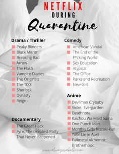 Looking for some new TV shows or movies to watch during quarantine? Here is a list of binge-worthy content to entertain yourself while sheltering-in-place! Must Watch Netflix Movies, Netflix Shows To Watch, Netflix Hacks, Good Movies On Netflix, Movie To Watch List, Tv Series To Watch, Netflix Suggestions, Netflix Recommendations, Bucket List Movie